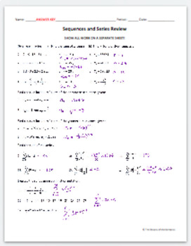 Sequences & Series Review Worksheet