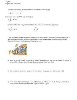 Sequences & Series Test (4 versions)