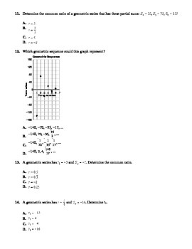 Sequences & Series Unit Test with FULL SOLUTIONS