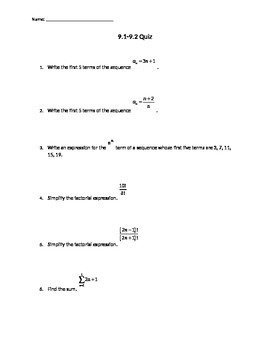 Sequences, Series, and Arithmetic Series Quiz