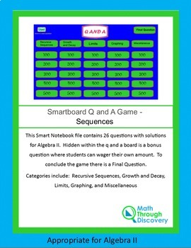Algebra II Smartboard Q and A Game - Sequences