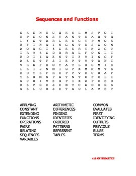 Sequences and Functions Word Search