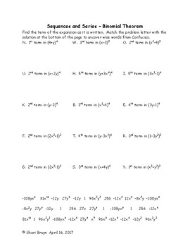 Sequences and Series - Binomial Theorem