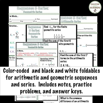Sequences and Series Bundle for Algebra 2 Curriculum Unit 12