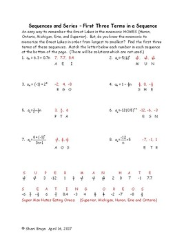 Sequences and Series - First Three Terms in a Sequence
