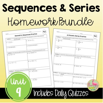 Algebra 2 Sequences and Series Homework Bundle