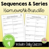 Sequences and Series Homework Bundle (Algebra 2 - Unit 9)