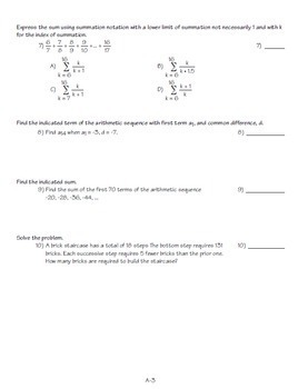 PreCalculus Sequences and Series Test/Review 2 versions