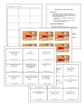 Algebra 2: Sequences and Series Task Cards Activity