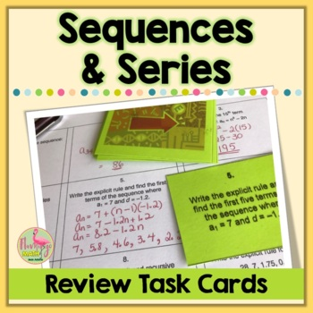 Algebra 2 Sequences and Series Task Cards Activity