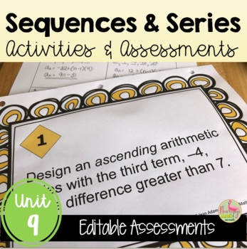 Algebra 2: Sequences and Series Review-Quiz-Test Bundle