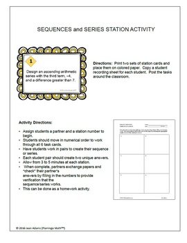 Algebra 2 Sequences and Series Stations Activity