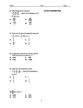 Sequences and Series Test BUNDLE