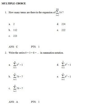Precalculus Sequences And Series Test Review Answers