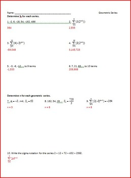 Sequences and Series WS