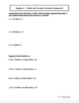 Sequences and Variation Worksheet Bundle