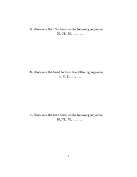 Sequences-determining the rule and finding terms 2