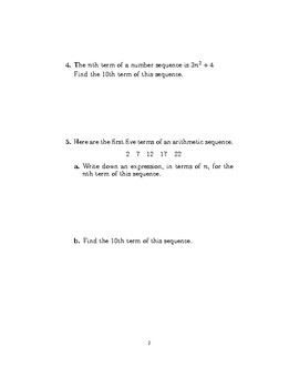 Sequences  (generating sequences and finding the nth term)