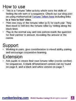 Sequences nth term (Fortune Teller/Cootie Catcher)