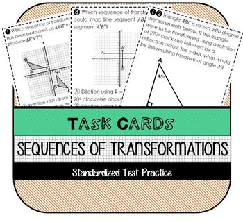 Sequences of Transformations Task Cards OR Worksheet