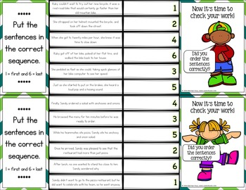 Story Sequencing Activity: 36 Sequence of Events Task Cards (Clip and Flip)