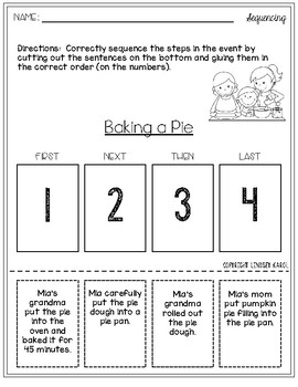 Sequencing Activities for Thanksgiving