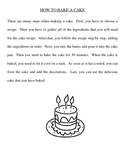 Sequencing Activity - How To Bake A Cake