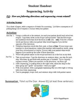 Sequencing with Recipes Cooperative Learning Activity at Christmas or Anytime