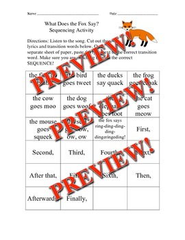Sequencing Activity- What Does the Fox Say?