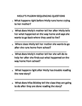 Molly's Pilgrim Sequencing Activity