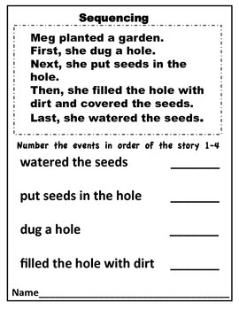 Sequencing Anchor Chart Poster and Worksheets