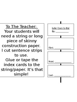 Sequencing Book Report with Rubric EDITABLE