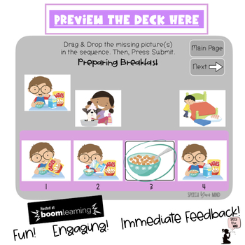 Sequencing Boom Cards™ - 4 & 5 Step Task - Visual Sequences with Pictures