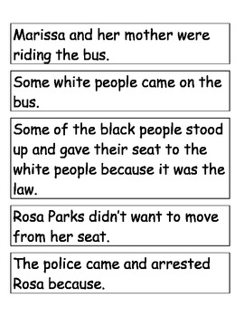 Sequencing Cards - Rosa Parks