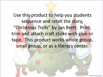 "Sequencing :""Christmas Trolls"" Stick Puppets"