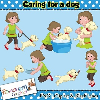 Sequencing Clip art - Caring for pet, dog