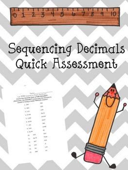 Sequencing Decimals - Quick Quiz
