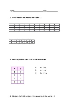 Sequencing Equations Quiz