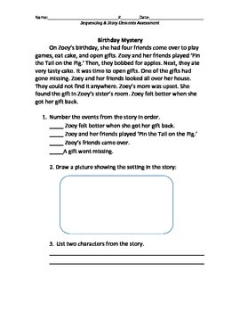Sequencing Events and Story Elements Assessment