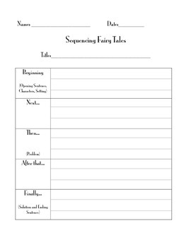 Sequencing Fairy Tales Graphic Organizer