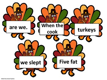 "Sequencing ""Five Little Turkeys"""