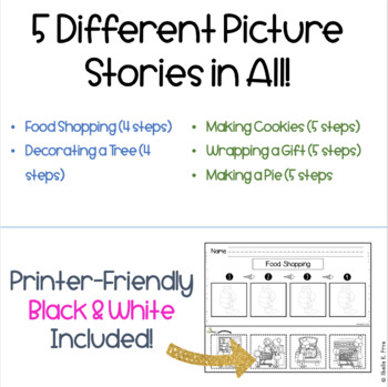 HOLIDAY Sequencing Stories with Pictures 4 and 5 Steps