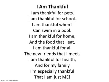 """Sequencing """"I Am Thankful"""""""