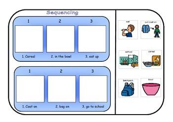 Sequencing Interactive workbook (School day) Autism/Special Ed