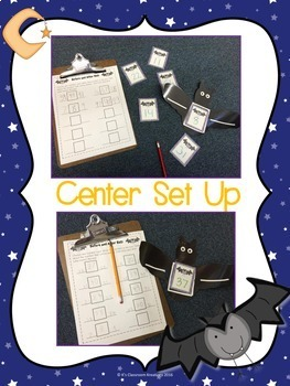Ordering Numbers Math Center Bat Theme