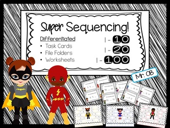 Sequencing Numbers - Task Cards, File Folders, Worksheets - Differentiated