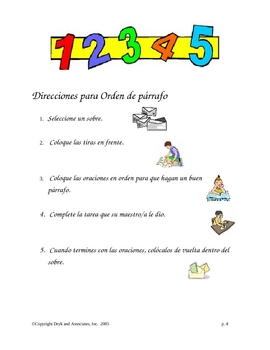 Sequencing:  Paragraph Order (English and Spanish)