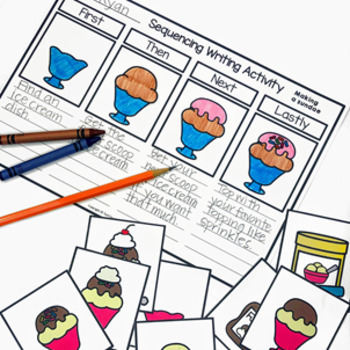 Sequencing Familiar Events picture cards worksheets and writing tasks