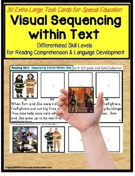 Sequencing Events with Pictures and Text Task Cards For Sp