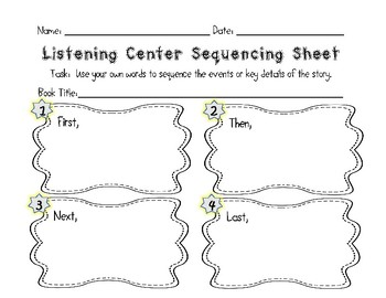 Sequencing Poster and Worksheets for Text Dependent Analysis